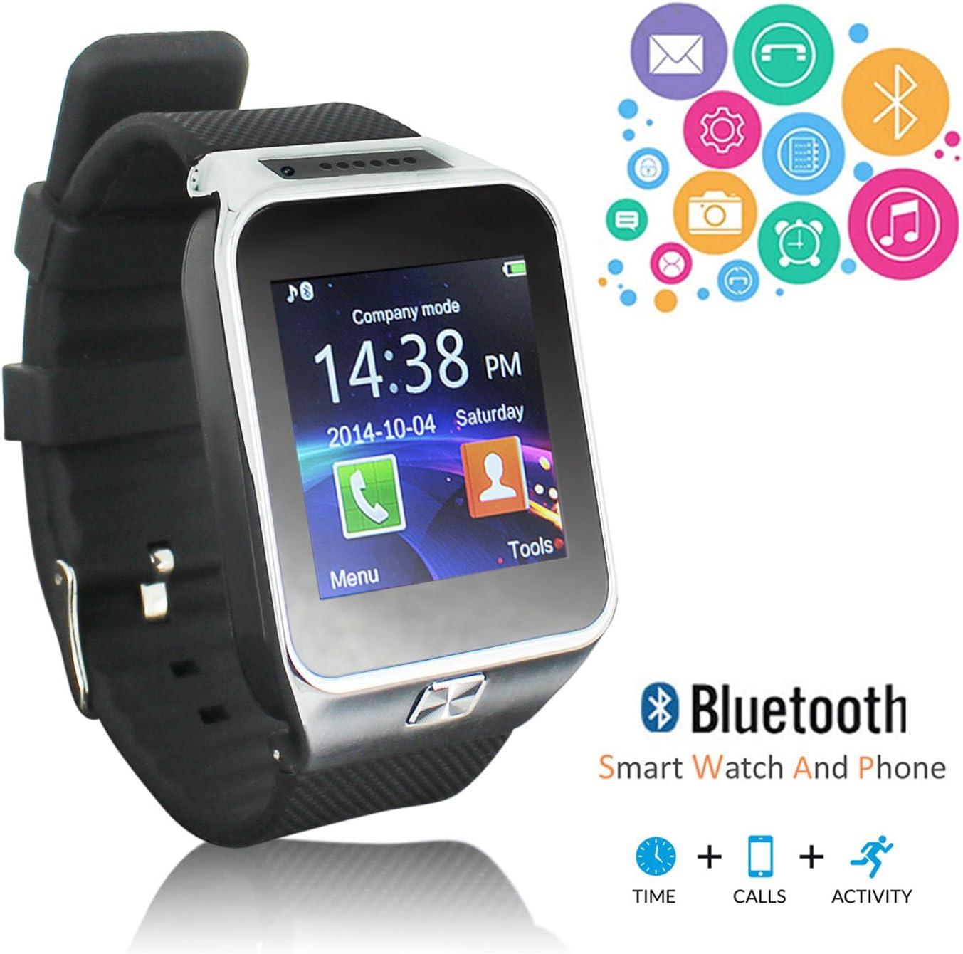 inDigi® Cool OLED pantalla Bluetooth Smart Watch negro para todos los teléfonos Galaxy S5 Note 4 iPhone 6 Plus etc