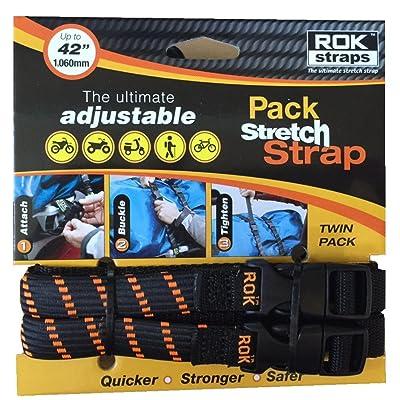 "ROK Straps ROK-10306 Black/Orange 12"" - 42"" Pack Adjustable Stretch Strap: Automotive"