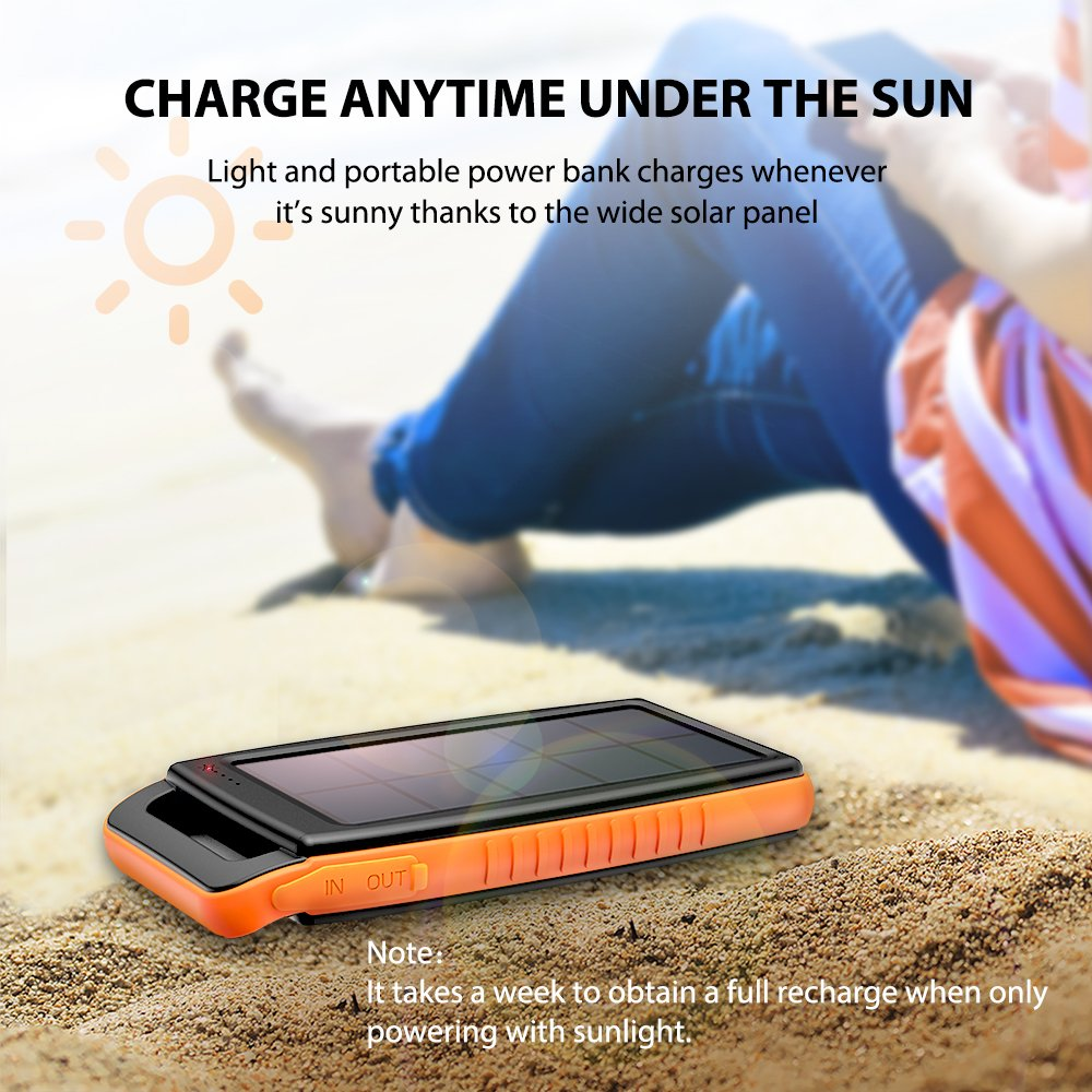 Solar Charger RAVPower 15000mAh Portable Charger Solar Power Bank Dual USB External Battery Pack Power Pack with Flashlight for Galaxy S9, S8, Note 8, iPhone X, 8 & 8 Plus, Pixel 2 and Lumia More
