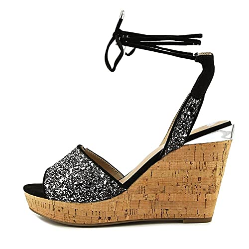 GUESS Womens Edinna Fabric Open Toe Casual Platform Sandals Black Size 11.0