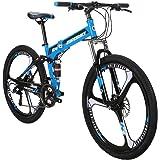 Eurobike Folding Bike G4 21 Speed Mountain Bike 26 Inches 3-Spoke Wheels MTB Dual Suspension Bicycle
