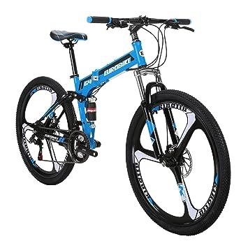 Eurobike Bicicleta de Montaña G4 21 Velocidades 26 Pulgadas 3 Ruedas de Radios Dual Suspensión Bicicleta