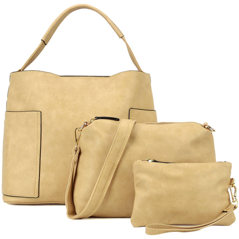 Dasein Women's Large Leather Hobo Bag Shoulder Bag Top Handle Purse