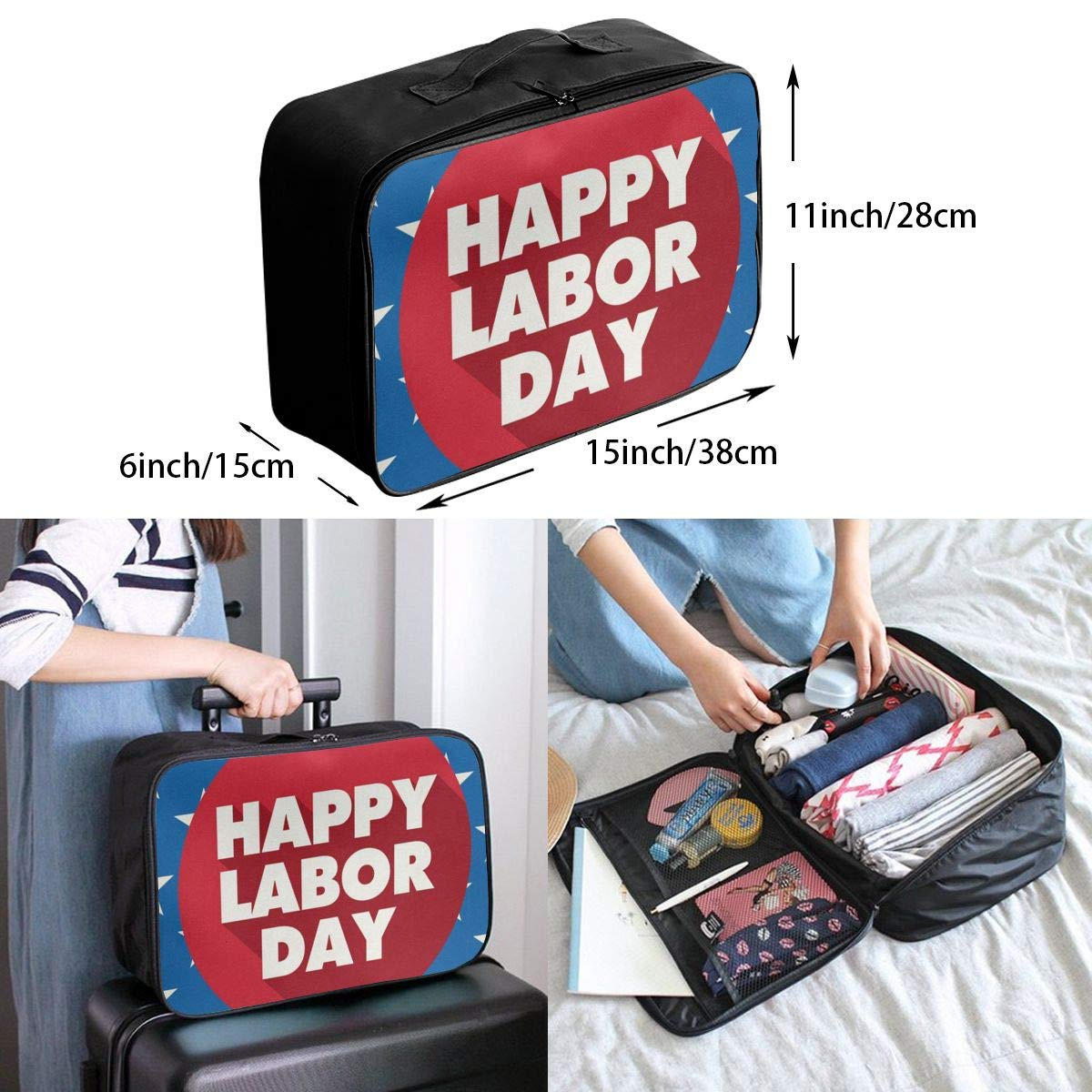 Travel Bags Star Labor Day Portable Tote Trolley Handle Luggage Bag