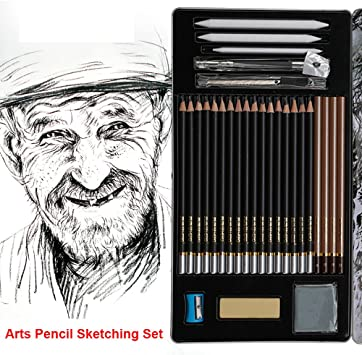Shading Sketching /& Drawing 25-Piece Deluxe Art Set by Glokers 100 Sheet