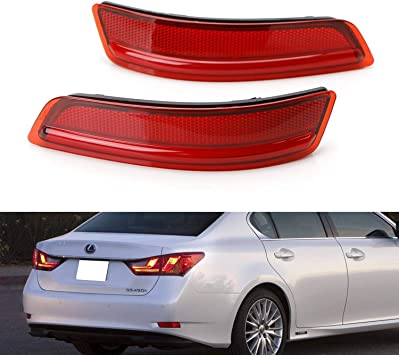 OE-Spec LH RH Assembly iJDMTOY Red Lens Rear Bumper Reflector Lenses For 2013-2018 Lexus GS200t GS350 GS460 GS450h ES350 ES300h etc