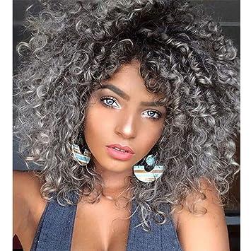 JIAXFA Pelo Corto Africano Peluca pequeña Moda Femenina Color de Degradado Punto Medio Cabeza explosiva Cosplay