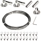 Curtain Wire Rod Set Stainless Steel with 24 Clips Multi-Purpose 5 Meter Long Curtain Drapery Cable Wire Rod Set 1 Pack