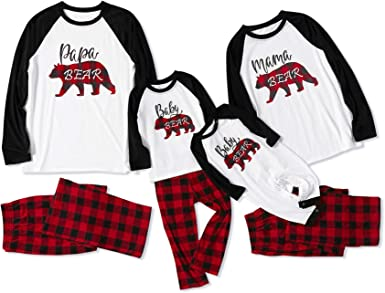 Yaffi Family Matching Pajamas Set Christmas Bear Printed Two Pieces Pjs Loungewear Sleepwear for Daddy Mommy and Me