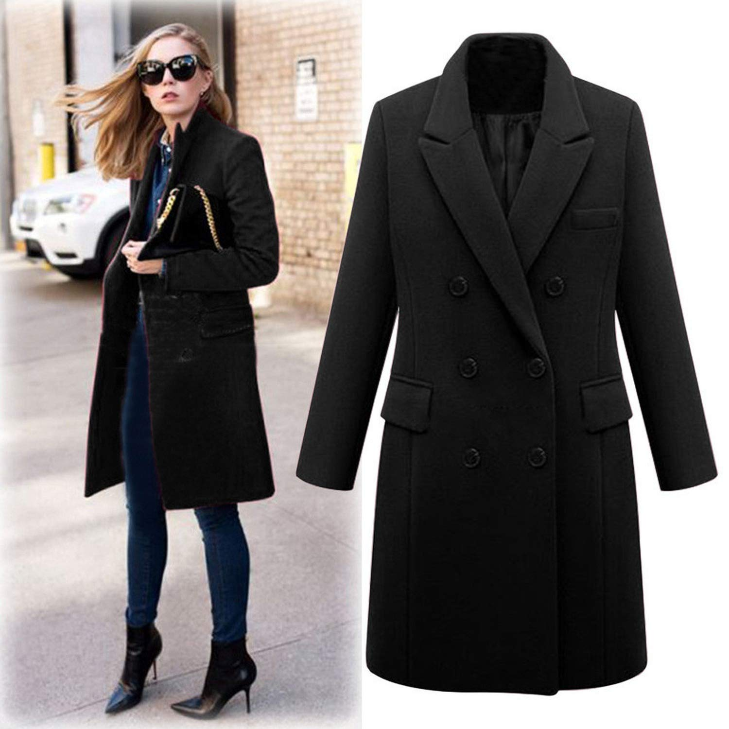 Amazon.com: New Winter Fashion Womens Wool Coat Double Breasted Coat Elegant Bodycon Cocoon Wool Long Coat: Clothing