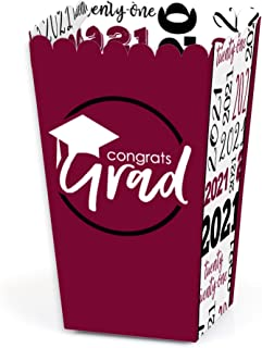 product image for Big Dot of Happiness Maroon Grad - Best is Yet to Come - Burgundy 2021 Graduation Party Favor Popcorn Treat Boxes - Set of 12