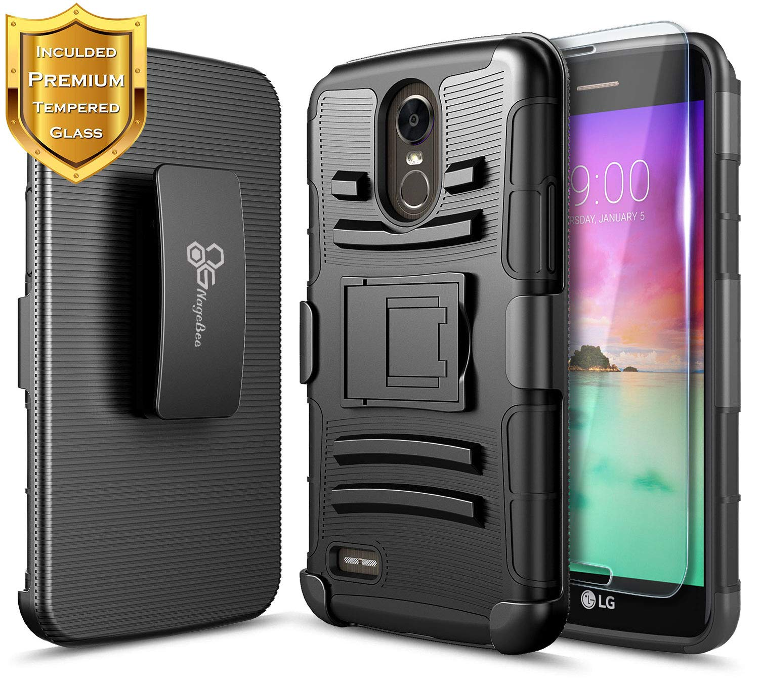 LG Stylo 3 Case (LS777), LG Stylo 3 Plus/LG Stylus 3 Belt Clip Holster Case with Tempered Glass Screen Protector, NageBee Defender Heavy Duty Shockproof Kickstand Combo Rugged Durable Case -Black