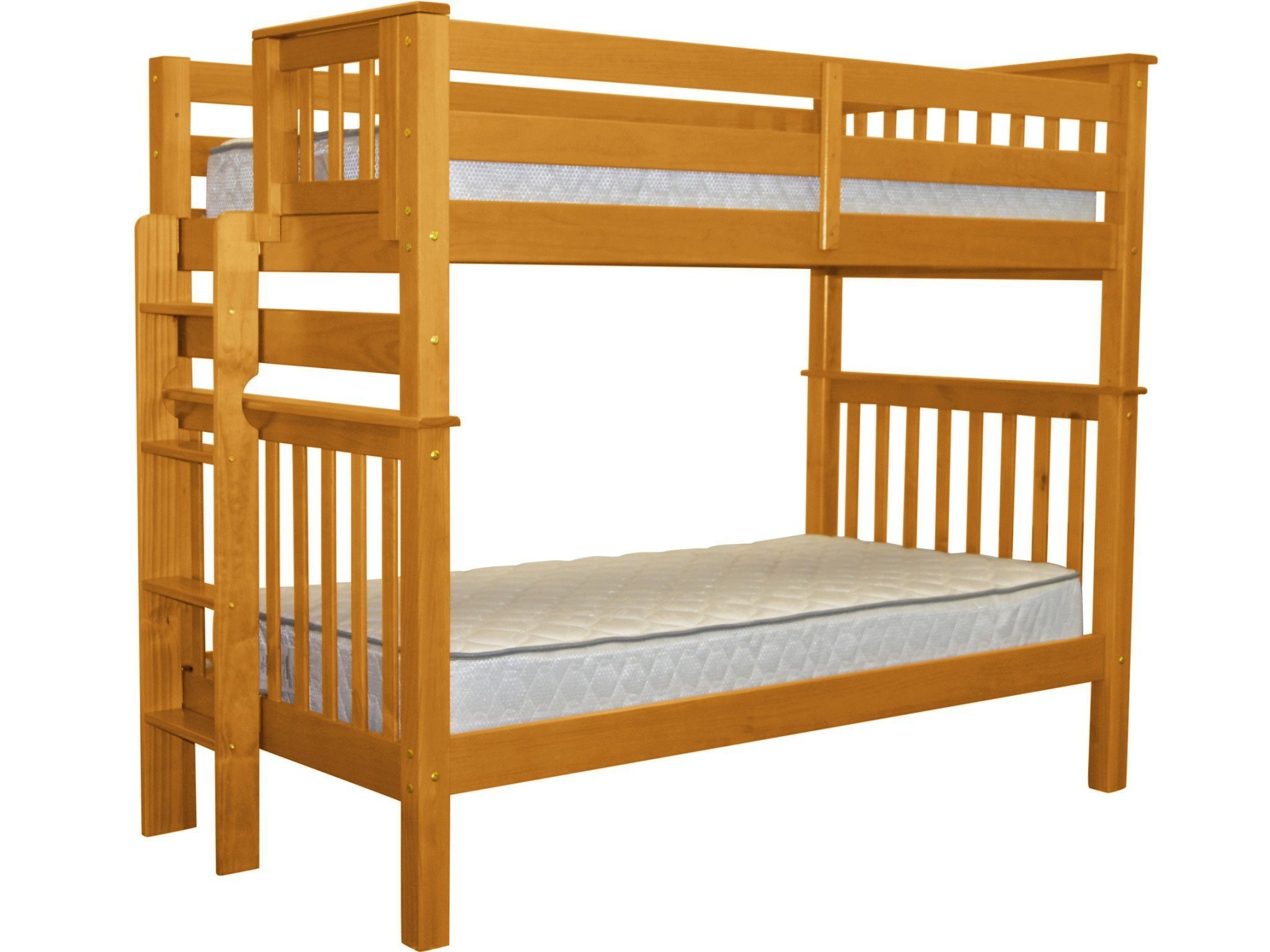 Bedz King Tall Bunk Beds Twin over Twin Mission Style with End Ladder, Honey