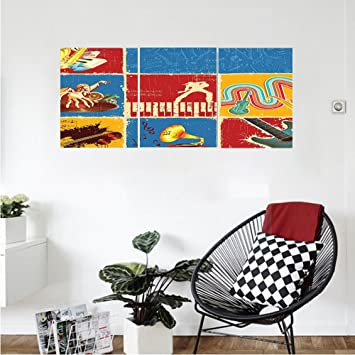 Liguo88 Custom Canvas Music Decor Wall Hanging Retro Collage Illustration  Of Different Music Instruments Guitar Violin