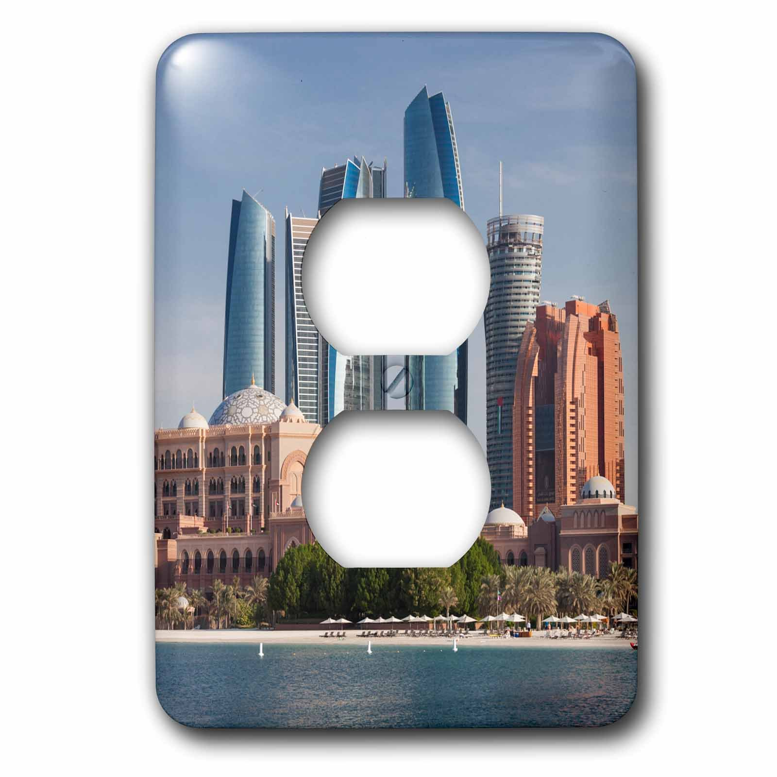 3dRose Danita Delimont - Cities - UAE, Abu Dhabi. Etihad Towers and Emirates Palace Hotel - Light Switch Covers - 2 plug outlet cover (lsp_277131_6)