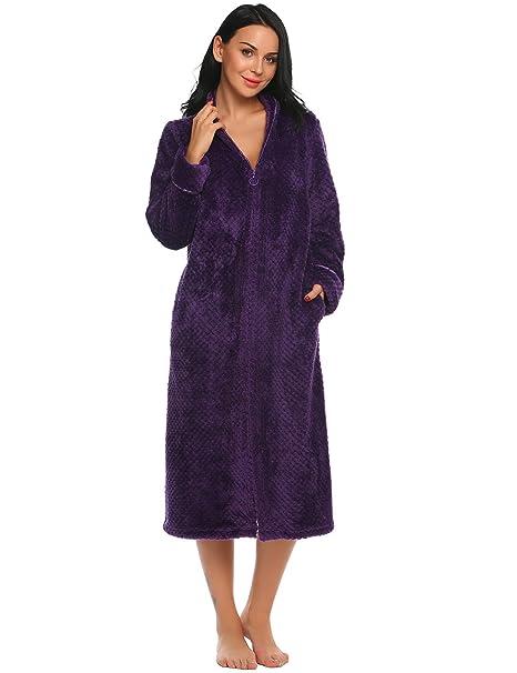 Bathrobe for Women Zip Front Sleepwear Ekouaer Flannel Long Kimono Robe  Purple S 91f3eee8f