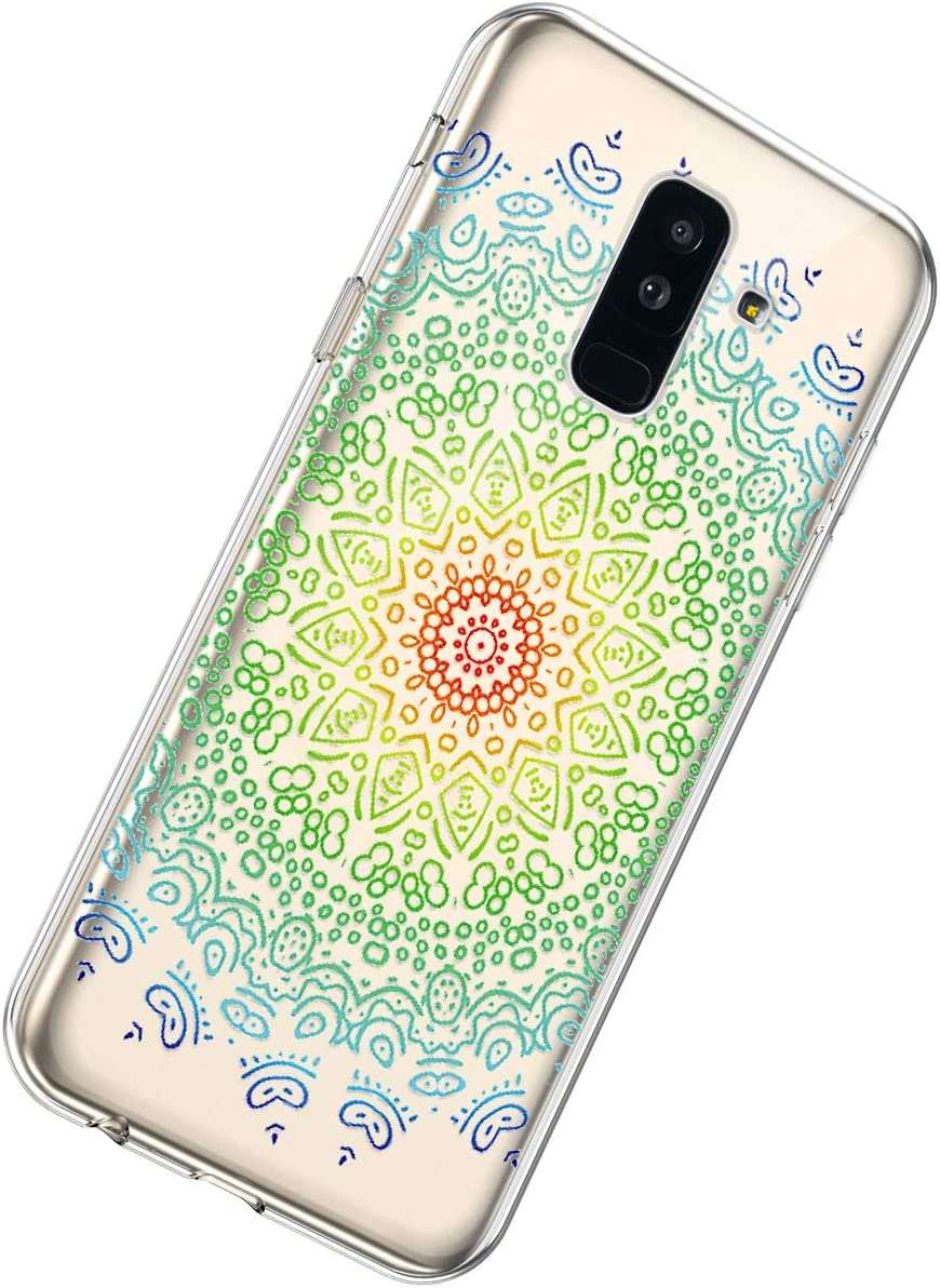 Herbests Compatible with Samsung Galaxy A6 Plus 2018 Case TPU Silicone Case Rubber Soft TPU Cover with Mandala Floral Design Transparent Shockproof Bumper Protective Case,Dreamcatcher