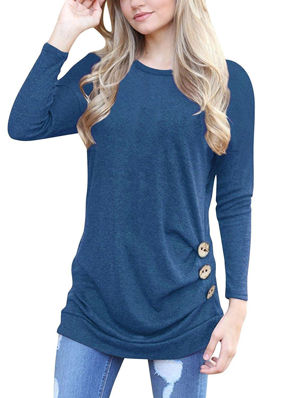 MOLERANI Women's Casual Long Sleeve Round Neck Loose Tunic T Shirt Blouse Tops Blue M