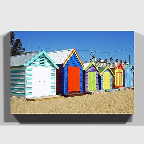 """Big Box Art """"diseño de casetas de Playa en Melbourne Australia 1"""" Impresión"""