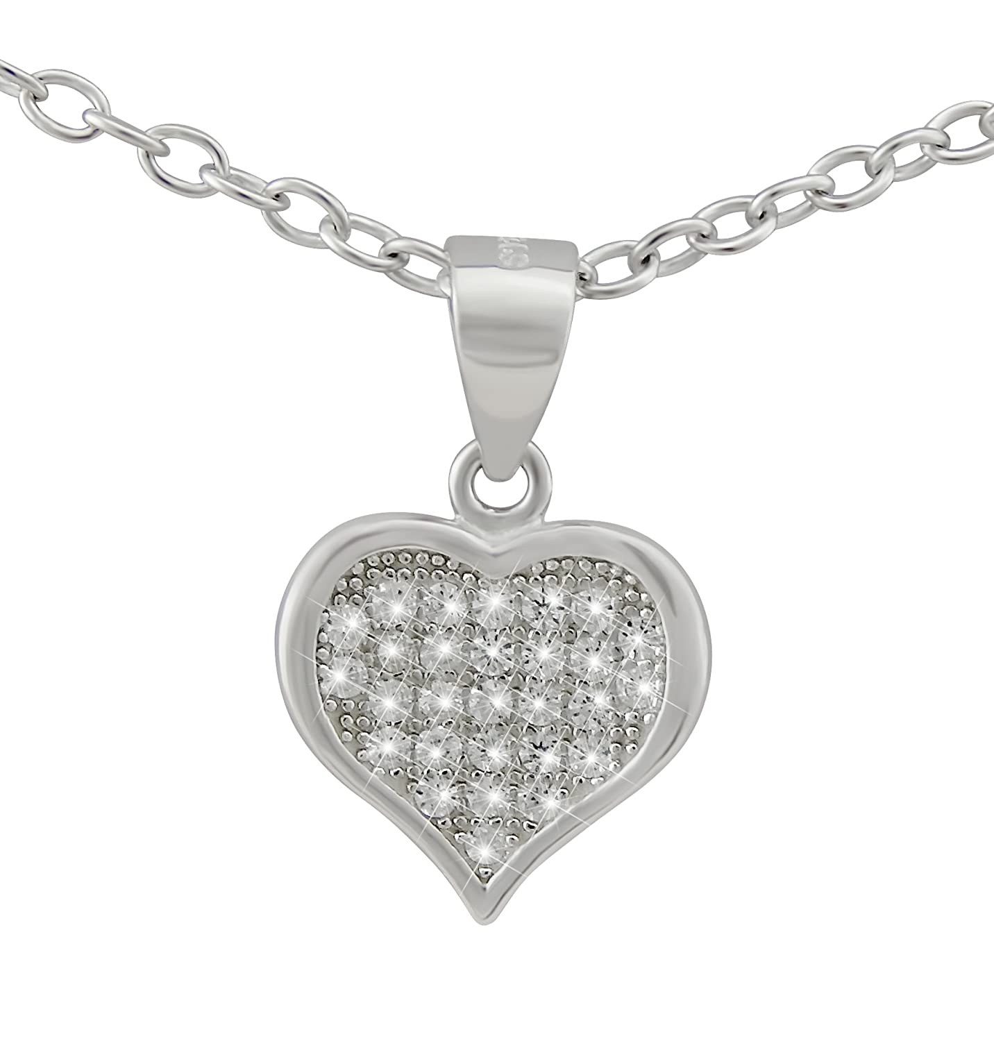 Veuer Chain Made of 925 Silver Rhodium Plated Jewellery For Women's Necklace with Pendant Made From Real Silver Heart with 28 CZ – Gifts for Women VF521