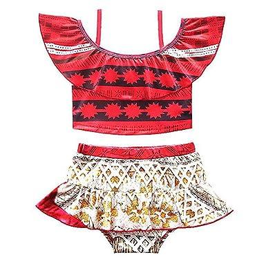 80ab3e2ac4996 CHICTRY Little Girls Kid Moan 2-Piece Off Shoulder Tankini Bikini Set  Adventure Swimwear Clothes