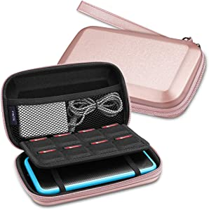 Fintie Carry Case for Nintendo 2DS XL/New 3DS XL LL, Protective Hard Shell Portable Travel Cover Pouch for New 3DS XL LL/New 2DS XL Console with Slots for Games & Inner Pocket (Rose Gold)