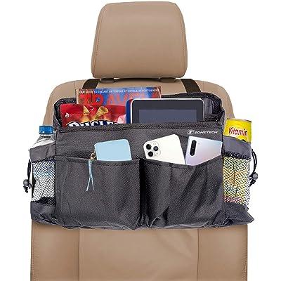 Zone Tech Multi-Pocket Organizer - Classic Black Durable Rugged Pack Cloth Premium Quality compact Car Seat Driver Headrest Organizer: Automotive