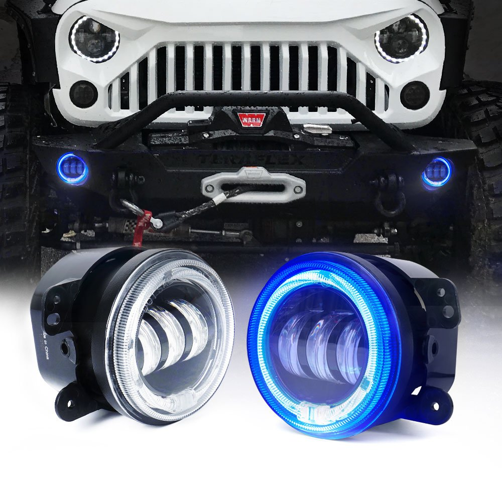 Xprite 4' Inch 60W Cree Led Fog Lights W/Amber/Orange Halo Ring DRL for Jeep Wrangler JK TJ LJ Tractor Boat Led Fog Lamps Bulb Auto Led Headlight Driving Offroad Lamps FL-R4IN-60W-DRL-Y