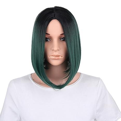 WEIXY Calidad Negro corta recta pelucas de pelo de alta a la manera azul de Bob