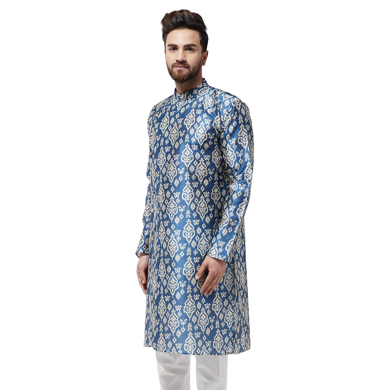 Festival-Men-Dupion-Silk-Kurta-Pajama-Ethnic-Party-Wear-Bollywood-Dress-Pyjama thumbnail 9
