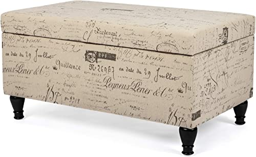 Decent Home Storage Ottoman Bench Rectangular Fabric Footstool
