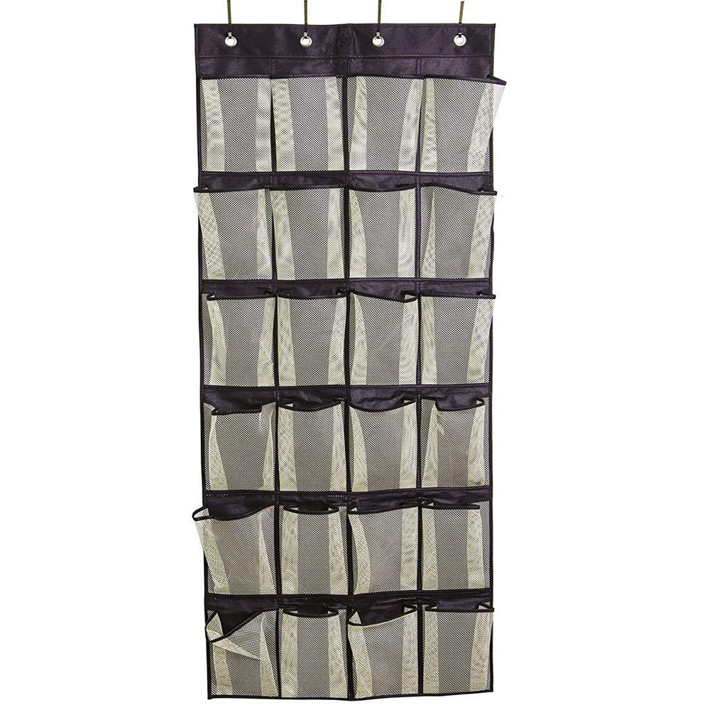 Dygzh Shoe Storage Bag in The Door Shoe Organizer 24 Large Mesh Pocket White Suitable for Bedroom Bathroom Kitchen (Color : Black) by Dygzh