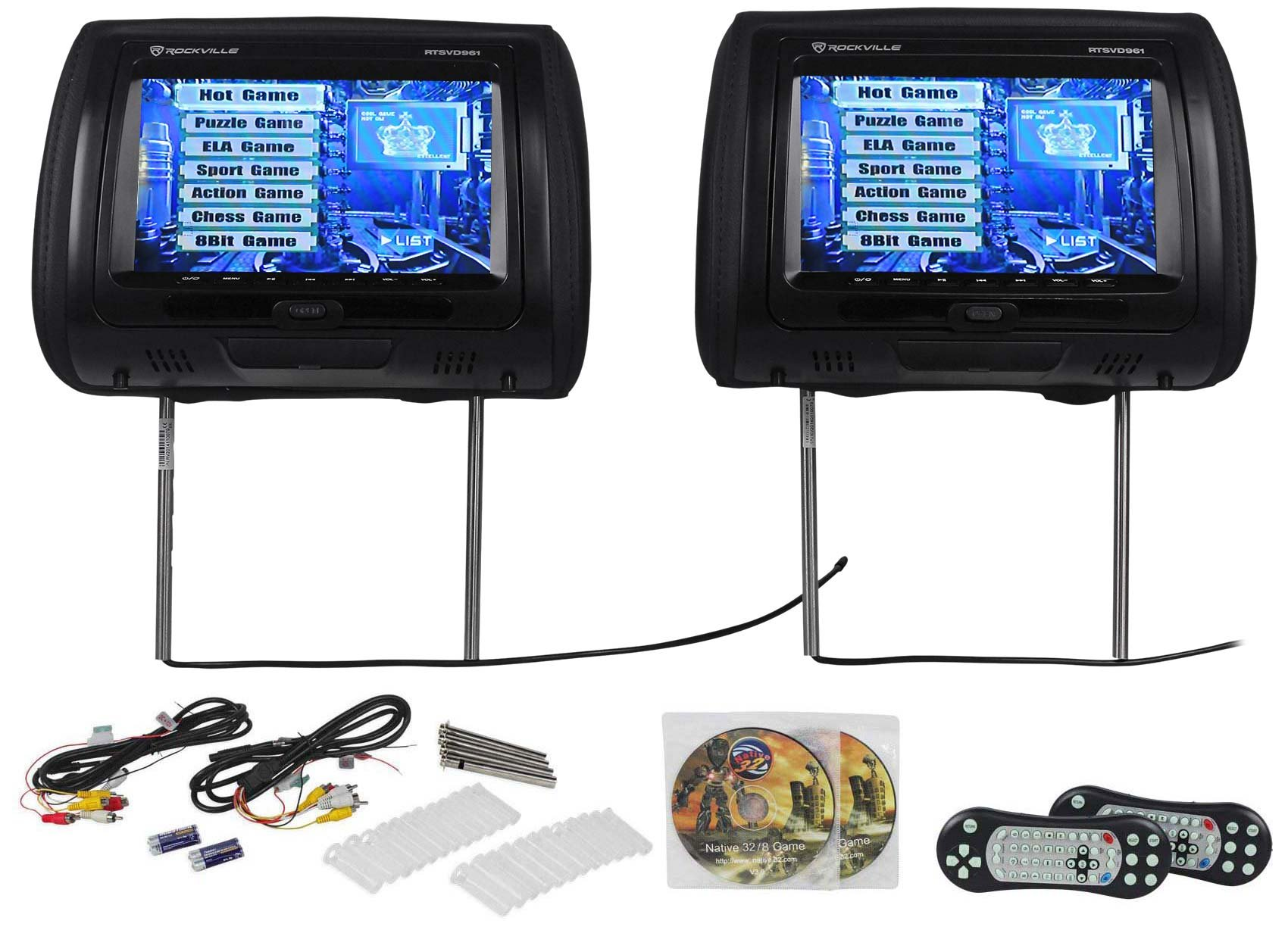 "Rockville RTSVD961-BK 9"" Black Touchscreen Dual DVD/HDMI Car Headrest Monitors"