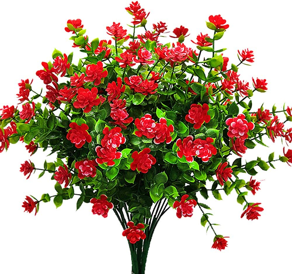Artificial Flowers Fake Outdoor Uv Resistant Plants Faux Plastic Greenery Shrubs Indoor Outside Hanging Planter Home Kitchen Office Wedding Garden Decor Red Garden Outdoor