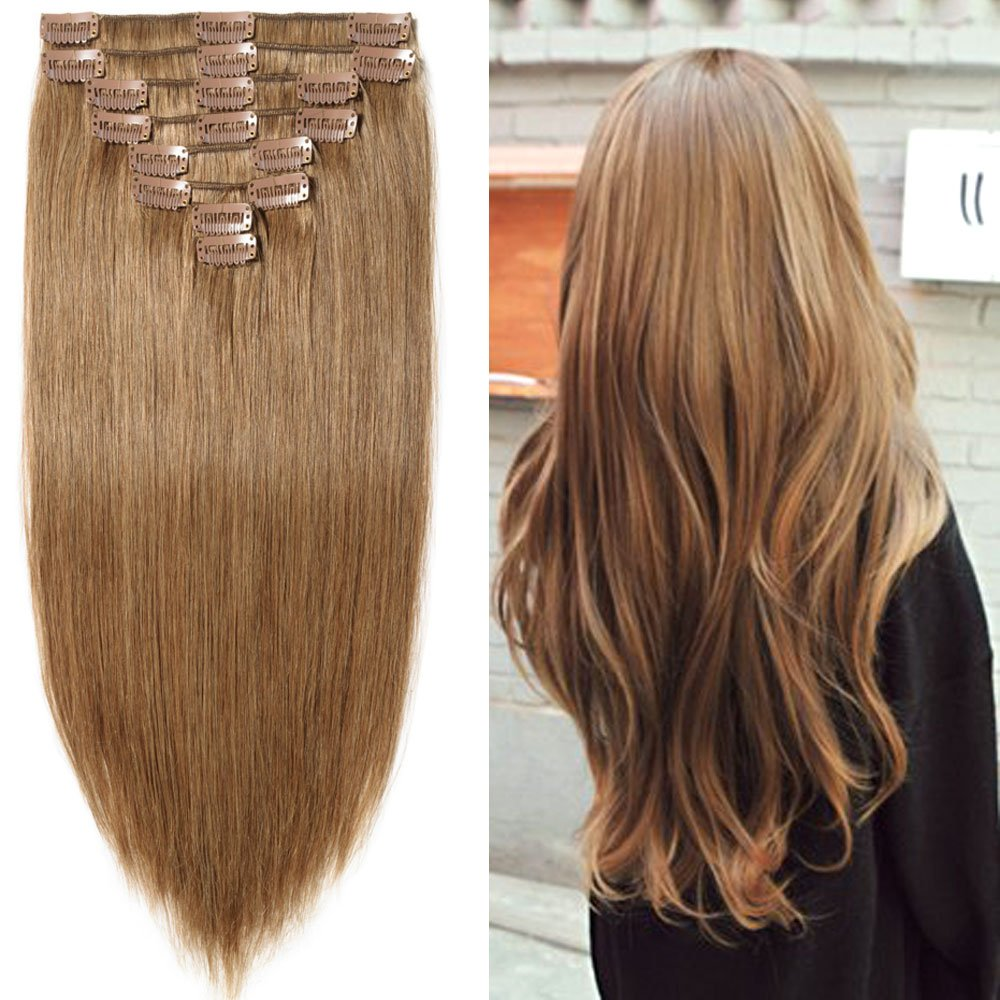12 14 Thick Double Drawn Clip In Real Remy Human Hair Extensions 8