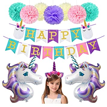 Unicorn Birthday Decorations Party Supplies 34inch Foil Balloons Glitter Happy Banner With Slumber Face Tissue