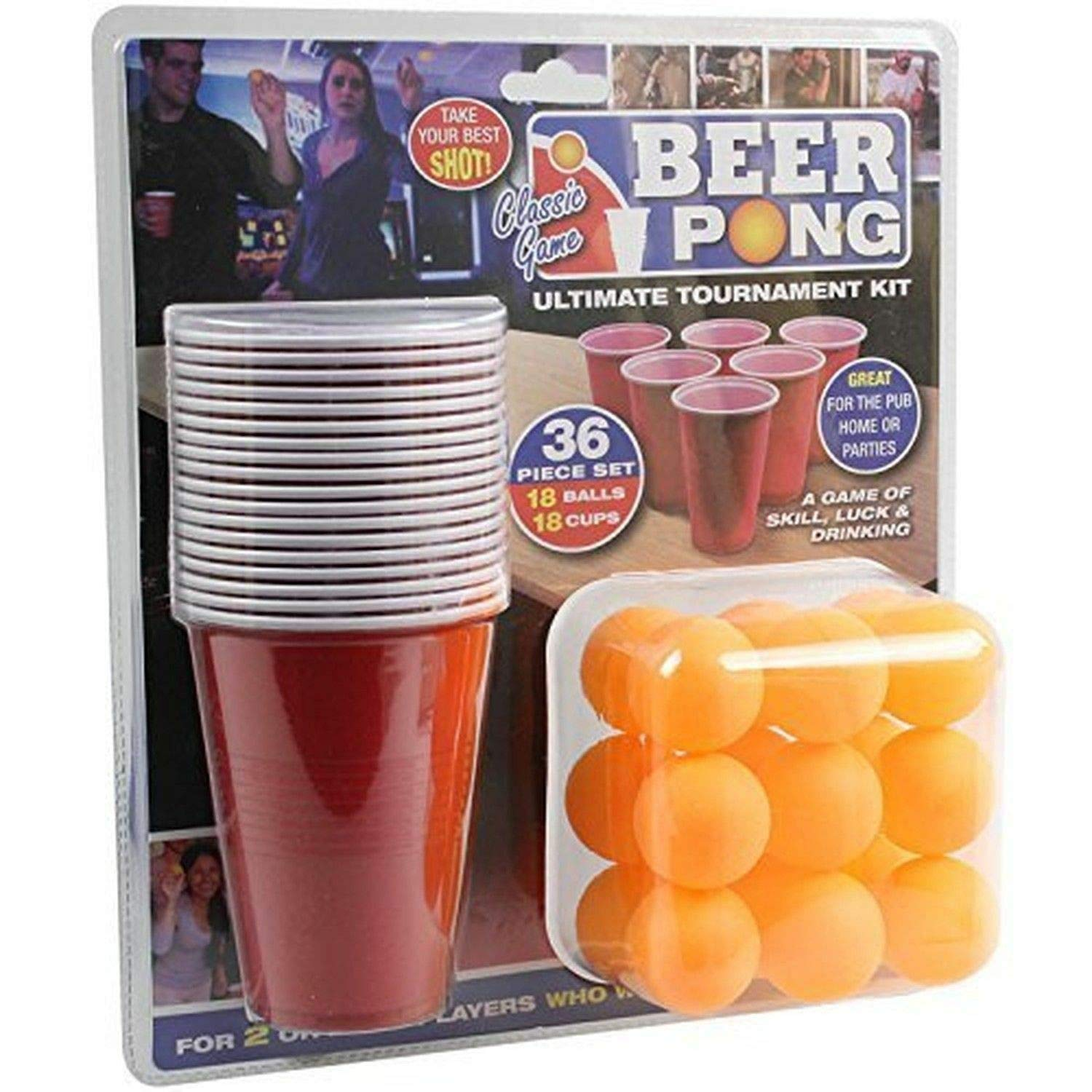PMS 619028 36PC Beer Pong Set in Double Blister Card, Red