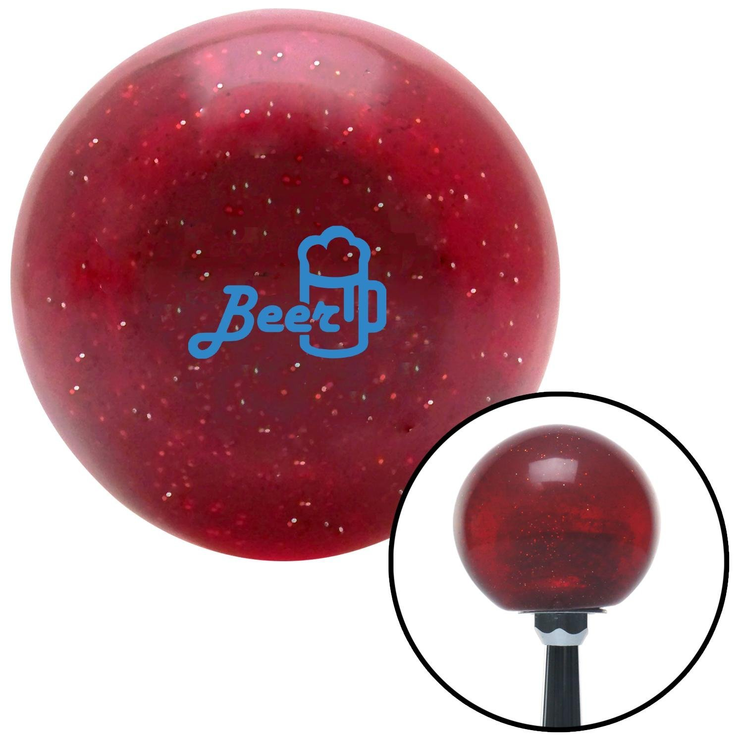 Blue Beer and Mug Red Metal Flake with M16 x 1.5 Insert American Shifter 282565 Shift Knob