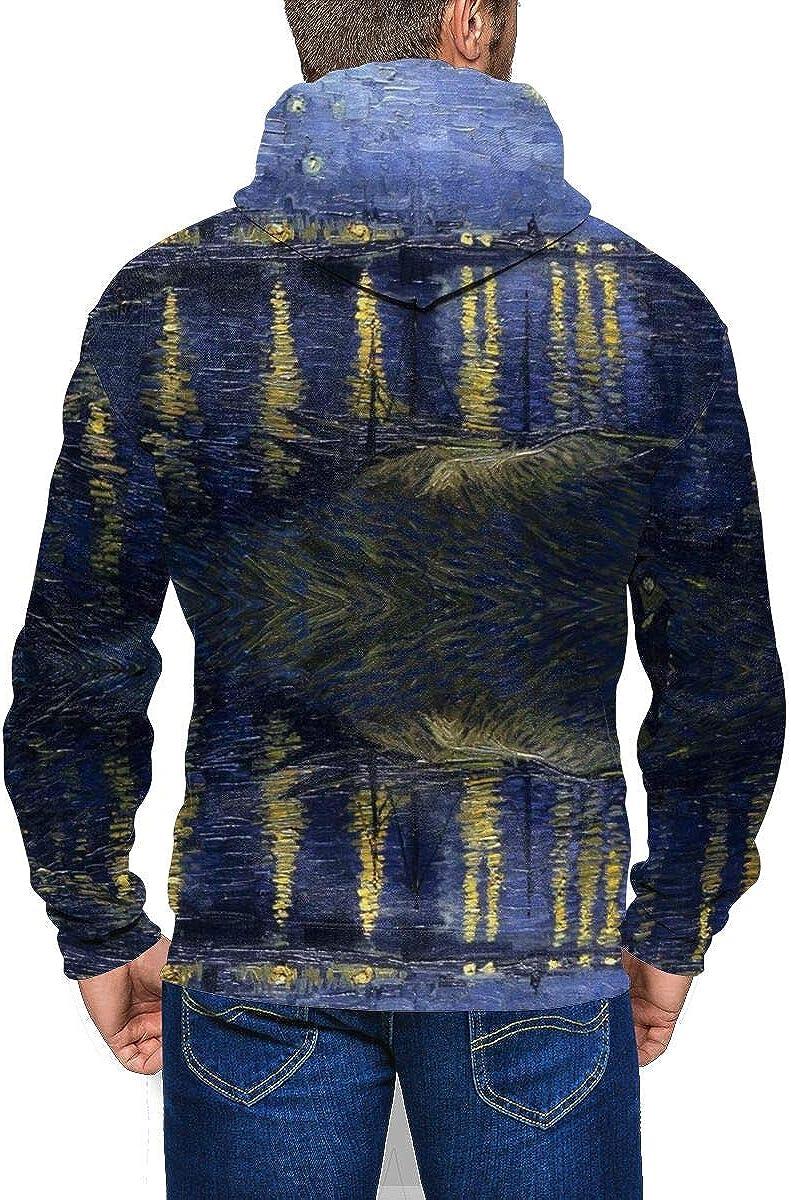 Vincent Van Gogh Art Oil Painting Starry Night/ Mens Hoodies Long Sleeve Full Zip Hooded Jacket Pullover Boys Running