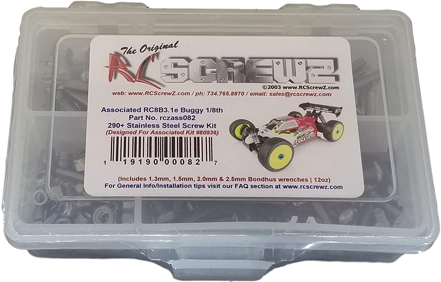 AE Team Associated RC8T3.1 4WD 1//8 Screws Washer Assembly Hardware Multi Wrench