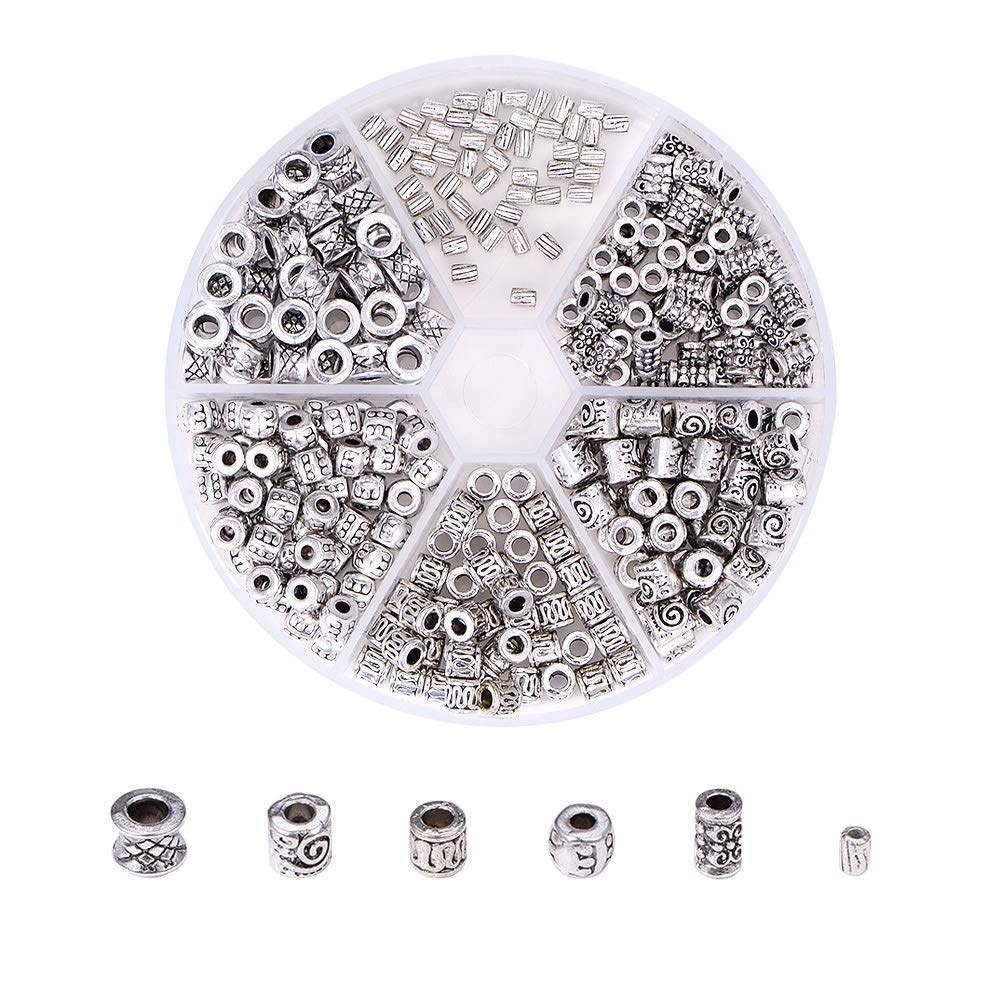 PH PandaHall 500pcs 10 Style Silver Spacer Beads Jewelry Bead Charm Tibetan Metal Spacers for Jewelry Bracelets Necklace Making