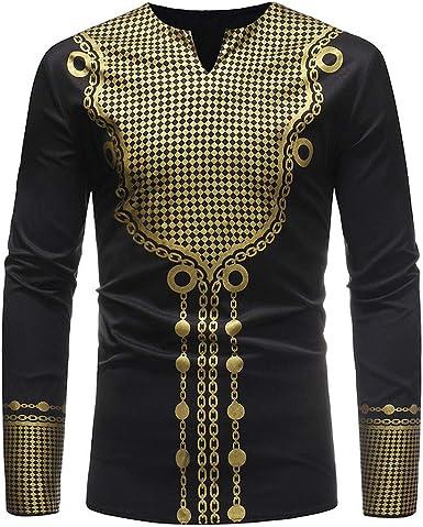 Wan-T Mens Stylish V Neck Slim Fit Long Sleeve African Print Dashiki Ethnic Print T-Shirts Tops
