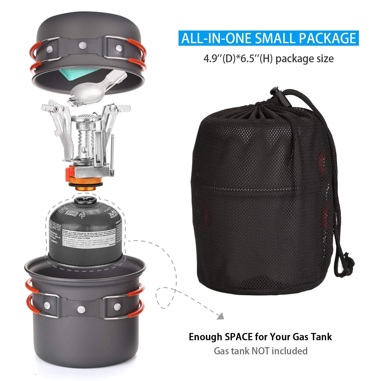Estufa Trekking Odoland Utensilios Cocina Camping Kit con 1.2 L Ollas Camping y 0.6 L Sart/én de Aluminio Cubiertos Plegable Taza de Acero Inoxidable Cacerolas de Acampada de Camping y Viaje