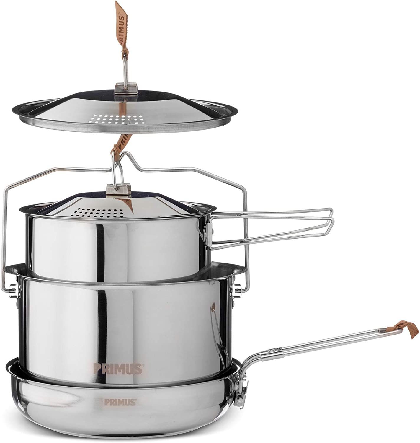 Primus | Stainless Steel Campfire Cookset | Nesting Pots & Pan for Camping and Outdoor Cooking