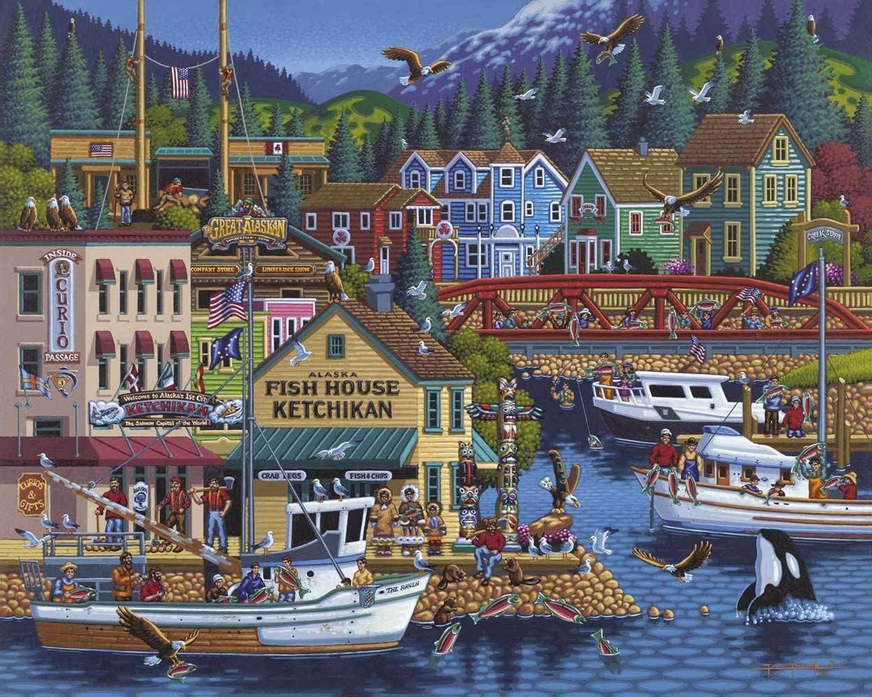 Dowdle Folk Art Jigsaw Puzzle Ketchikan 500 Pc SG/_B00AN5R4N8/_US