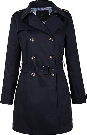 various colors 0ec19 f6817 F03 Damen Trenchcoat Kurzmantel Camille mit Gürtel blau