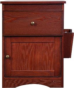 porfeet 2 Drawer Cabinet,Assembled Wood Bedroom Furniture Nightstand,Vintage Multifunctional Bedside Storage Cabinet Brown