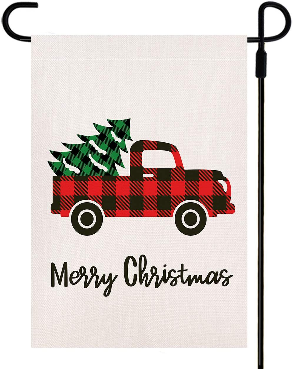 Yileqi Merry Christmas Garden Flag with Buffalo Check Red Truck and Vintage Tree, Double Sided Burlap Home Xmas Yard Flag for Outside Decor 12.5 x 18 Inches Small Flag for Winter Outdoor Decoration