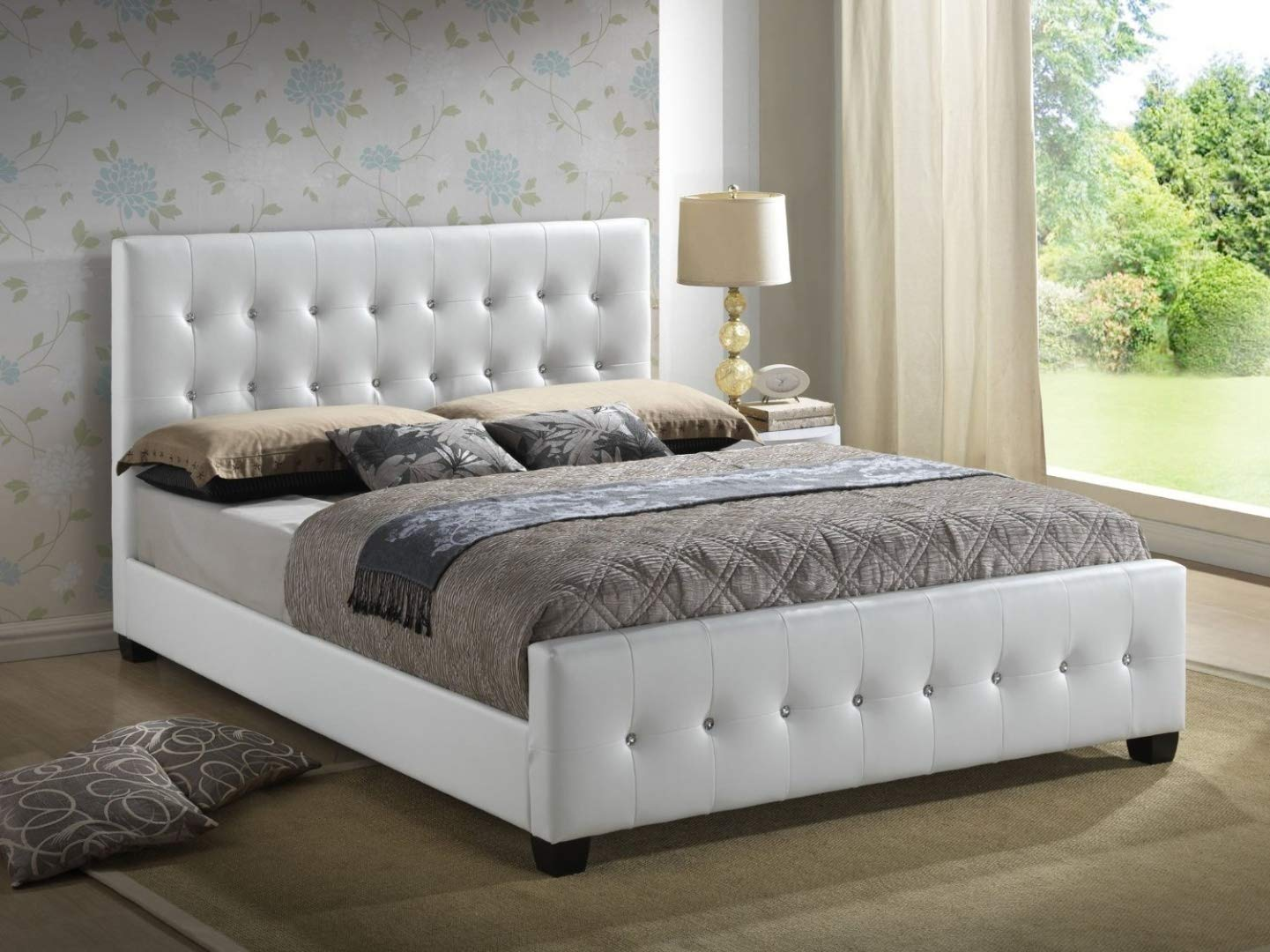 Queen Size Bed.Glory Furniture White Queen Size Modern Headboard Tufted Leather Look Upholstered Bed