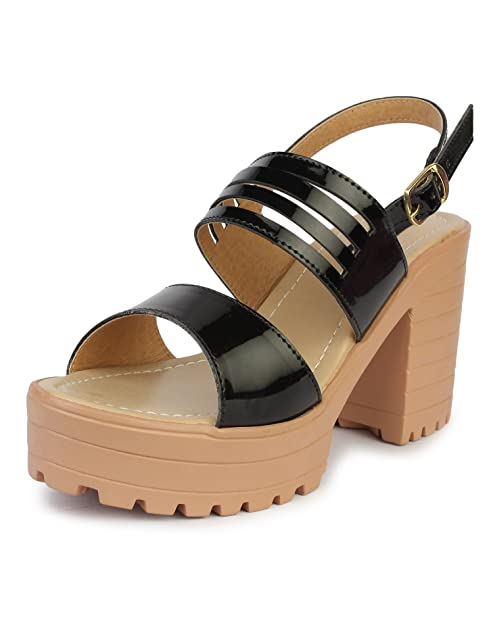 18652ea7f16 Do Bhai Patent-Hatoda Block Heeled Sandal for Women  Buy Online at Low  Prices in India - Amazon.in